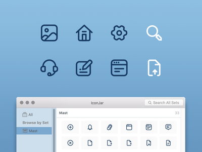 Masticons svg iconjar search gear home illustration set icon mast