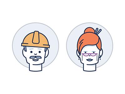 Occupation product marketing user face female male avatar illustration job
