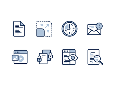 Mast Features writing document app tool browser blue illustration clock feature