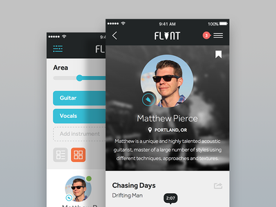 Flint ui mobile ios social app discovery music flint