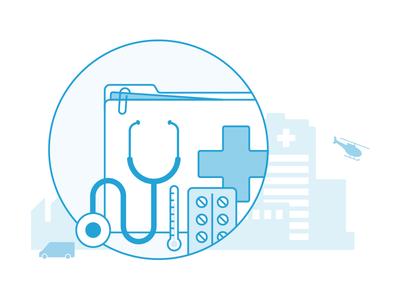 Conventional Medicine emergency nurse healthcare insurance health pills ambulance hospital doctor medicine illustration