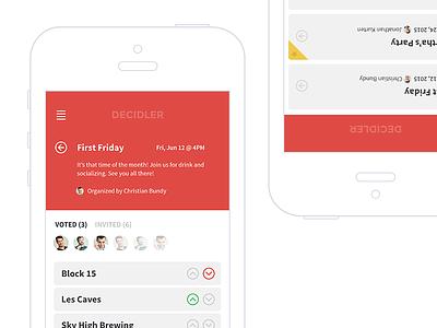 Decidler choice user avatar interface ux ui mobile ios app decision product