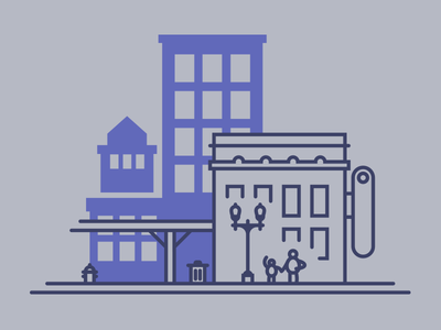 City Block sidewalk theater landscape transit city illustration