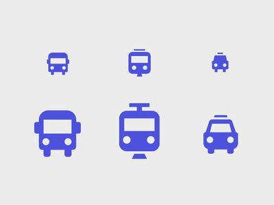 Mini Mobility transit illustration taxi car train bus mini small icons
