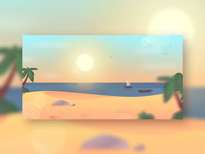Peacefull beach scenery illustration flatdesign landscape
