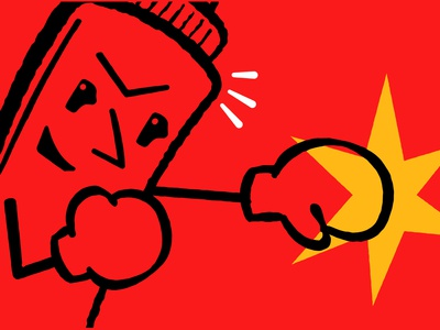 KO Burger boxing mustard ketchup character restaurant brand illustration branding