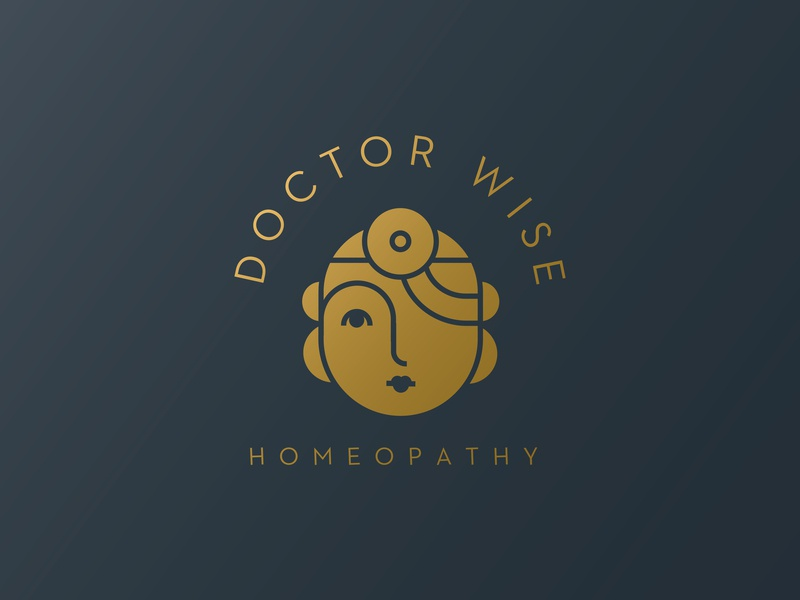 Doctor Wise Homeopathy logo illustration deco medicine brand woman pharmacist pharmaceutical homeopathy