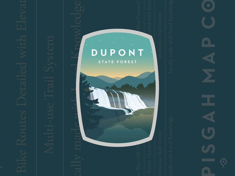 Pisgah Map Co - Dupont State Forest mapping map company mountains waterfall illustration branding