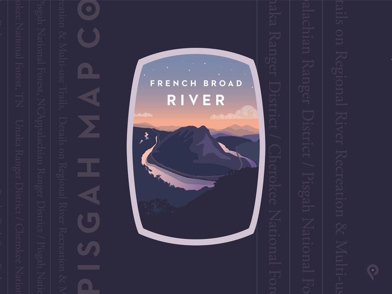 Pisgah Map Co French Broad pisgah map company mapping company river mountains illustration branding