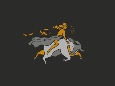 Ostara and her bull asheville branding farm brand goddess bull ostara