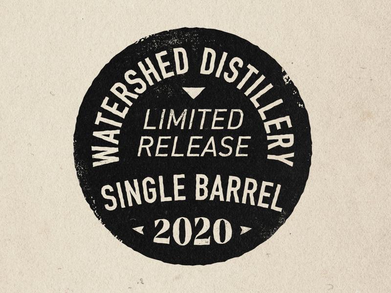 Watershed Distillery - single barrel graphic ohio bourbon seal spirits typography vector design