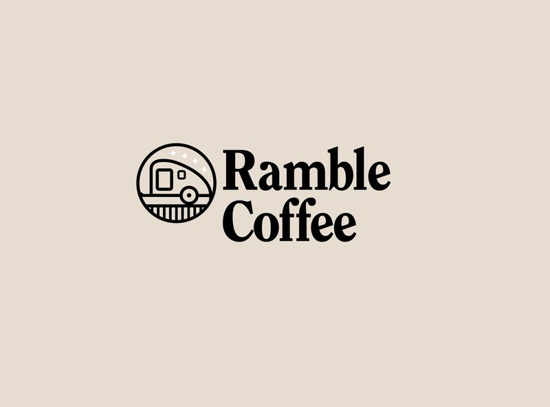 Ramble Coffee typography outdoors travel teardrop coffee logo vector branding illustration design