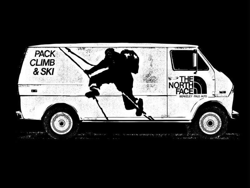 The North Face - apparel graphic blackandwhite van life van climbing the north face wacom pen and ink apparel graphics outdoors drawing vector illustration
