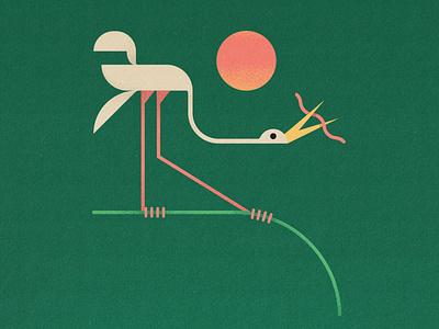Egret vintage egret mid-century midcentury grain outdoors adobe illustration illustrator bird vector