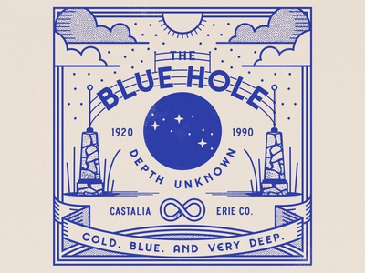 The Blue Hole ohio vintage retro blue tourism americana camp roadside outdoors adobe design vector illustration