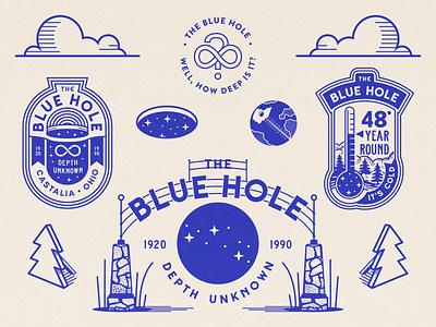 The Blue Hole infinity badges badge design roadside retro tourist trap signage typography design logo branding vector illustration