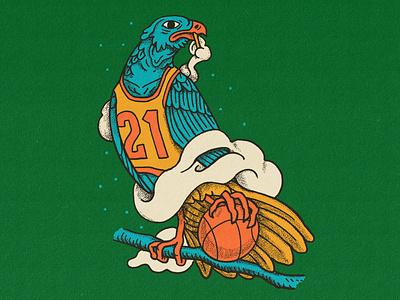 '21 basketball bird illustration design illustration