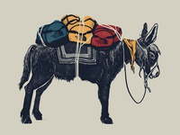 The North Face - pack donkey illustration