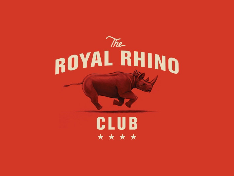 The Royal Rhino Club graphite drawing wacom drawing adobe vector logo branding design illustration