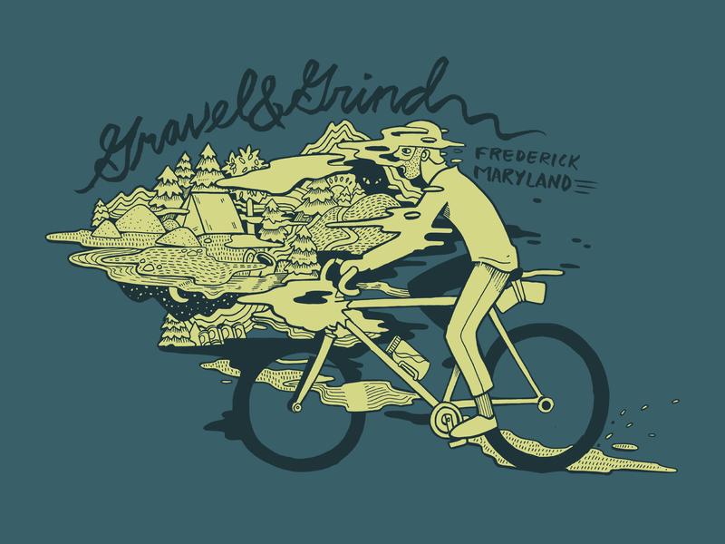 Gravel & Grind illustration apparel graphics bikeshop bikepacking gravel grinding pen and ink bicycle outdoors drawing design illustration