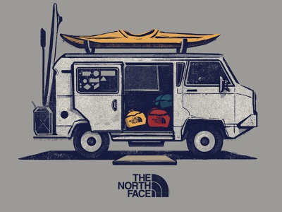 Illustration for The North Face - apparel graphics kayak vanlife the north face texture photoshop pen and ink wacom apparel graphics outdoors drawing adobe vector design illustration