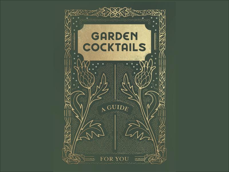 Cocktail booklet cover garden cocktails book cover illustration drawing design