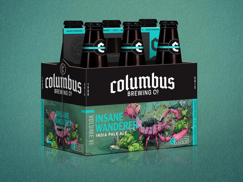 Columbus Brewing - Insane Wanderer 6 hops packaging design wacom design beer art beer drawing illustration