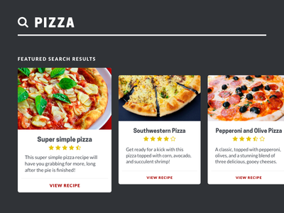 Daily UI #022 pizza cards search daily ui