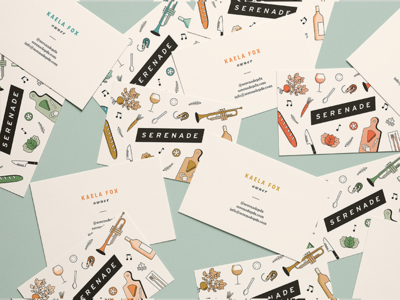 Serenade Business Cards print owen jones portland food music pattern illustration business cards logo branding