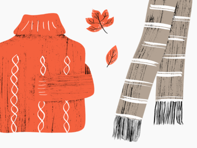 Sweater Weather texture scarf leaves sweater fall autumn inky illustration
