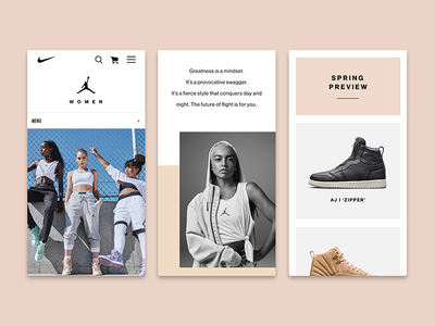 Jordan Women Spring 2018 Launch fashion shoe page sneakers nike jordan web mobile design web design
