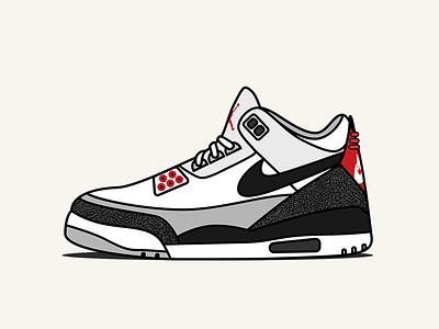 Air Jordan 3 'Tinker' Illustration vector shoe illustration sneaker icon sneakers jordans