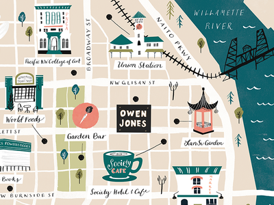 NW Portland Map skillshare portland map inky illustration illustration