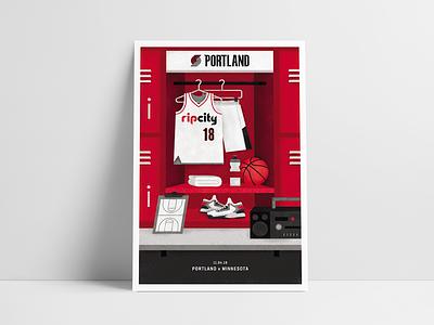 Portland Trail Blazers Gameday Poster 11/04 portland blazers illustration poster design poster basketball nba