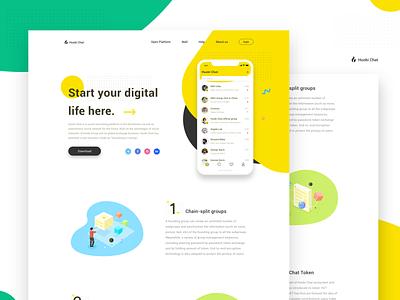 Huobi Chat app yellow app block chain design chat、ui ui
