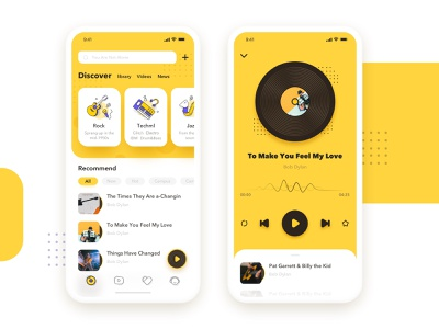 Music Room app music yellows logo 商标 设计 应用 插图 ui
