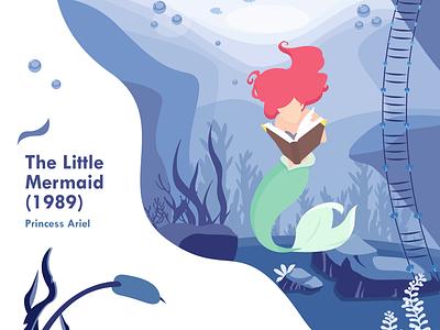 The Little Mermaid mermaid the little mermaid sea fanart drawing princess ariel cartoon disney landscape adobe illustrator illustrator design vector illustration