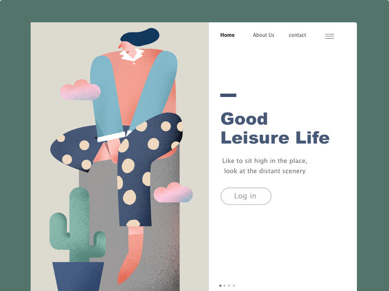 Leisure Life interface typography poster illustration/ui