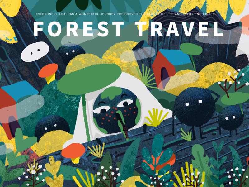 Forest  travel poster illustration