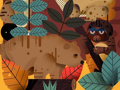 Animal  world typography illustration/ui design illustration