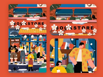 bookstore illustrations/ui typography poster illustration/ui illustration