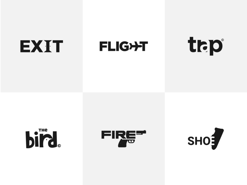 Wordmark Logos Collection shoe fire bird trap flight exit logotype type typography minimal logos gdimidesign app flat vector design logo wordmark