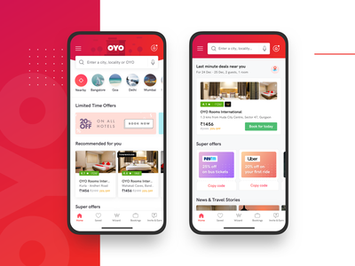 OYO - App Home Page Redesign ux design ux  ui ui offers sketch recommendations hotel search iphone app redesign oyo homepage home