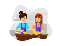 Mom And Daughter: Cooking