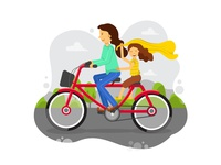 Mom And Girl: Cycling