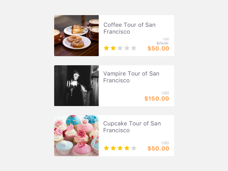 Tours Cards tour cards icons discover search travel app mobile ios