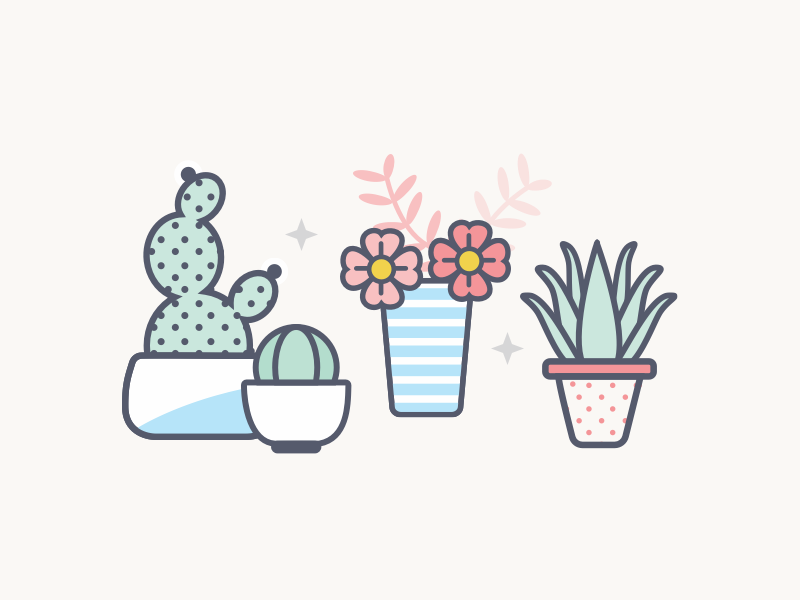 Diversity illustration diversity pot planter aloe vera cactus plants