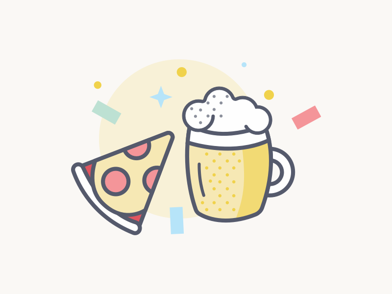 Beer Meeting illustration icons party pizza beer