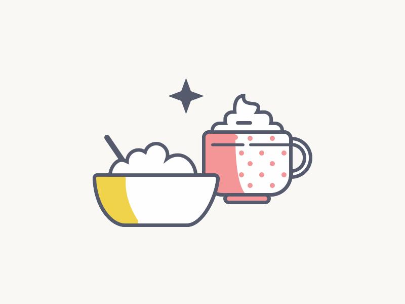 Breakfast cereal coffee latte breakfast illustration icons