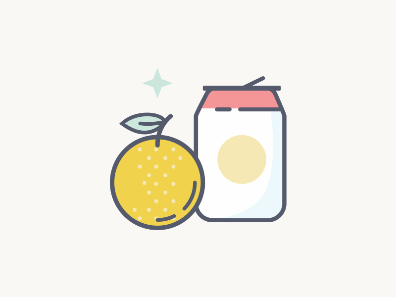 Fruits And Drinks pop drink orange fruit breakfast illustration icons